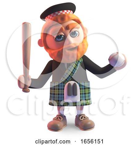 Cartoon Scottish Man in Kilt Has Taken up Baseball by Steve Young