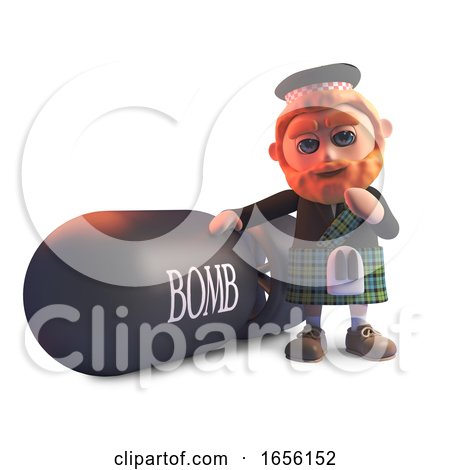 Funny Cartoon Scottish Man in Kilt Stands Next to a Huge Atomic Bomb by Steve Young