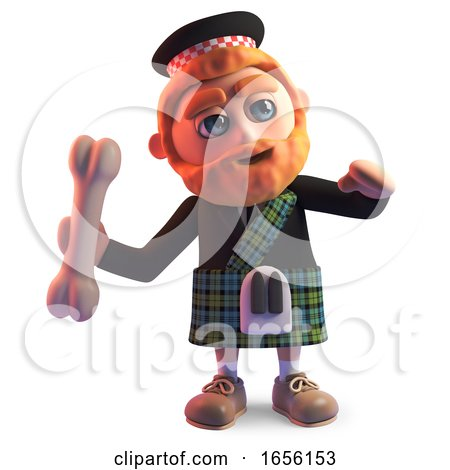 Cartoon Scottish Man in Kilt Throws a Bone by Steve Young