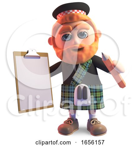 Efficient Scottish Man in Kilt with Clipboard and Pencil by Steve Young