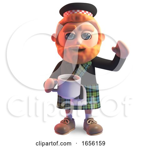 Thirsty Scottish Man in Kilt Drinking a Cup of Tea by Steve Young