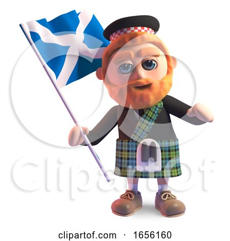 Proud Scottish Man in Kilt Waves the Scottish Flag by Steve Young