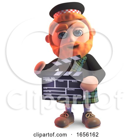 Funny Scottish Man in Kilt Using a Film Slate While Making a Movie by Steve Young