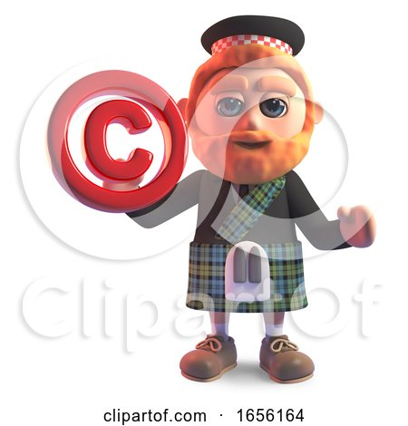 Cartoon Scottish Man in Kilt Holding a Copyright Symbol by Steve Young
