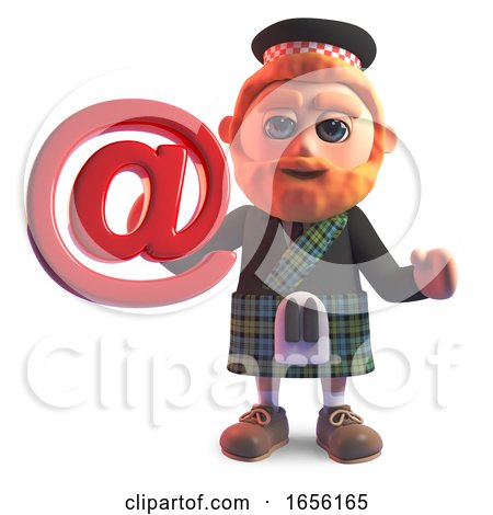 Modern Scottish Man in Kilt Holding an Email Address Symbol by Steve Young