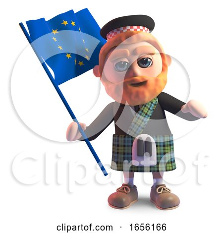 Bearded Scottish Man in Kilt Waving the European Flag by Steve Young