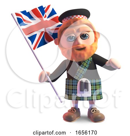 Scottish Man in Kilt Waving the British Union Jack Flag by Steve Young