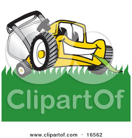 Yellow Lawn Mower Mascot Cartoon Character Smiling and Chewing on Grass  Posters, Art Prints