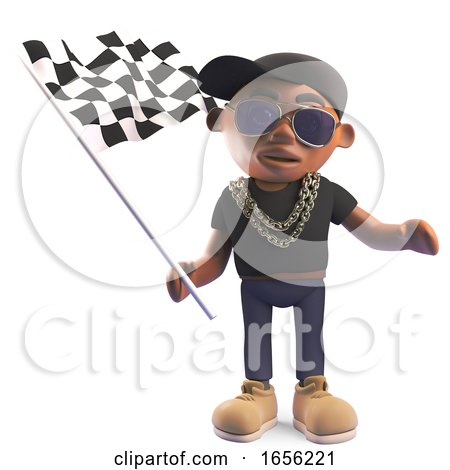 Black Hiphop Rapper Waving the Checkered Flag by Steve Young