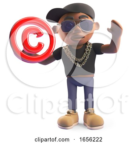 Cool Black Hiphop Rap Artist Holding a Copyright Symbol by Steve Young