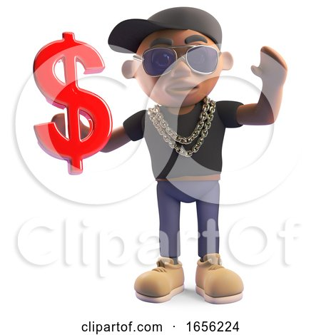 Rich Black Hiphop Rapper Holding US Dollar Currency Symbol by Steve Young