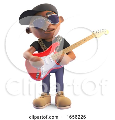 Musical Black Hiphop Rapper Playing Electric Guitar by Steve Young