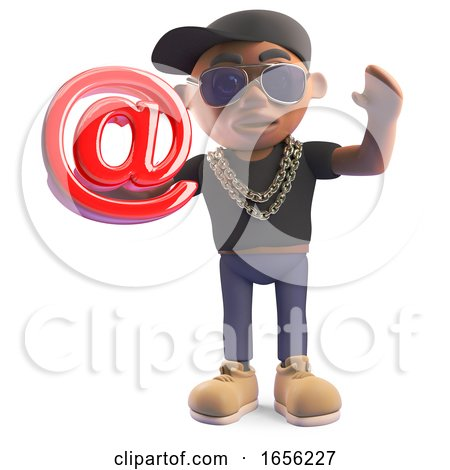 Cool Cartoon Black Hiphop Rapper Holding Email Address Symbol by Steve Young