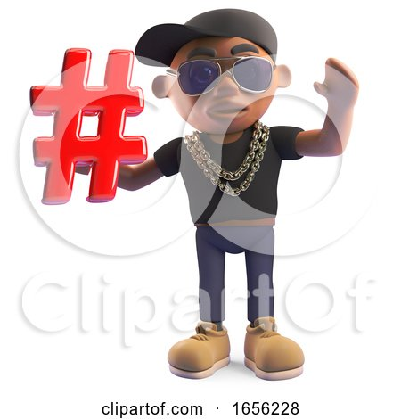 Cool Black Hip Hop Rapper Holding a Hashtag Symbol by Steve Young