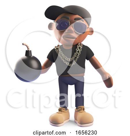 Cartoon Black Hiphop Rapper Holding a Bomb by Steve Young