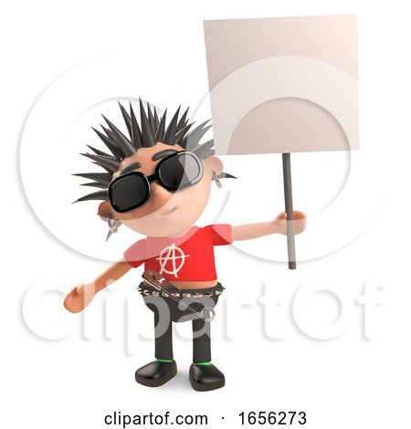 Angry Punk Rocker Protests with His Blank Placard by Steve Young