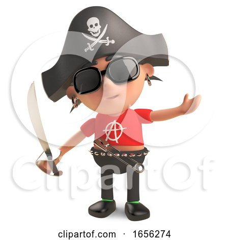 Nautical Punk Rocker Dressed As a Pirate with Cutlass by Steve Young