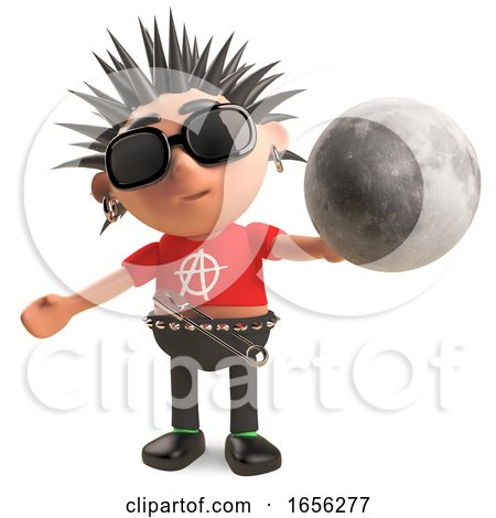 Cartoon Punk Rocker Is Intrigued by the Moon by Steve Young