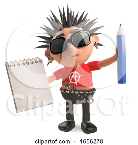 Funny Punk Rocker Aids His Memory with a Notepad and Pencil by Steve Young