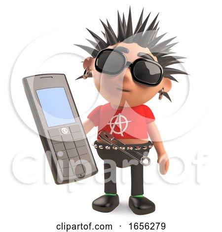 Cartoon Punk Rocker Has an Old Cellphone by Steve Young