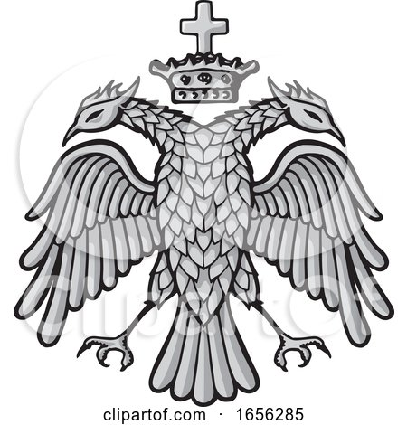 Grayscale Byzantine Eagle and Crown by Any Vector