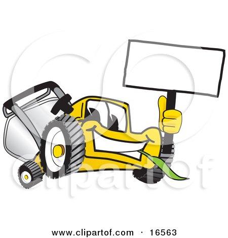 Yellow Lawn Mower Mascot Cartoon Character Waving a Blank Sign Posters, Art Prints