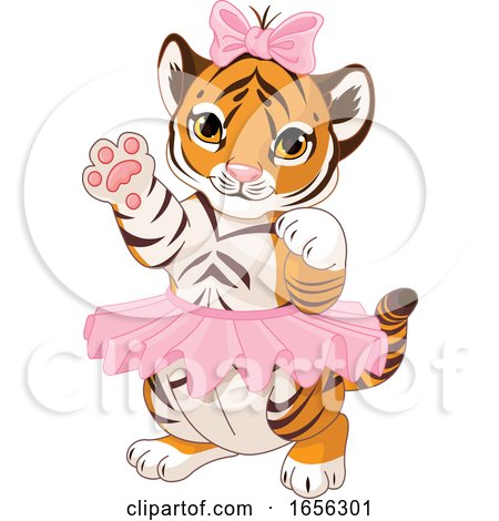 Cute Female Baby Tiger Wearing a Tutu by Pushkin