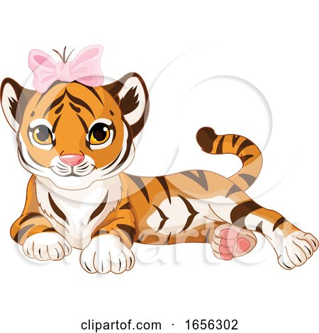 Cute Female Baby Tiger Wearing a Bow by Pushkin