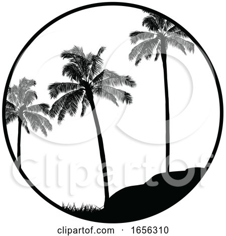 Black and White Summer Tropical Border with Palm Trees Silhouette by elaineitalia