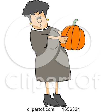 Cartoon Caucasian Woman Holding and Looking at a Pumpkin by djart