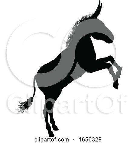 Donkey Animal Silhouette by AtStockIllustration