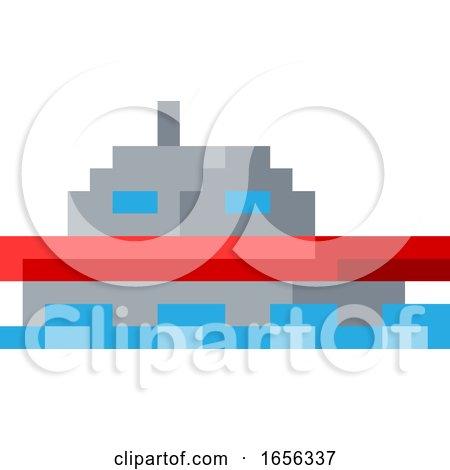Boat Ship Pixel 8 Bit Video Game Art Icon by AtStockIllustration