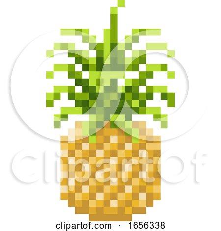Pineapple Pixel Art 8 Bit Video Game Fruit Icon by AtStockIllustration