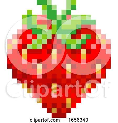 Strawberry Pixel Art 8 Bit Video Game Fruit Icon by AtStockIllustration
