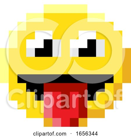 Emoticon Face Pixel Art 8 Bit Video Game Icon by AtStockIllustration
