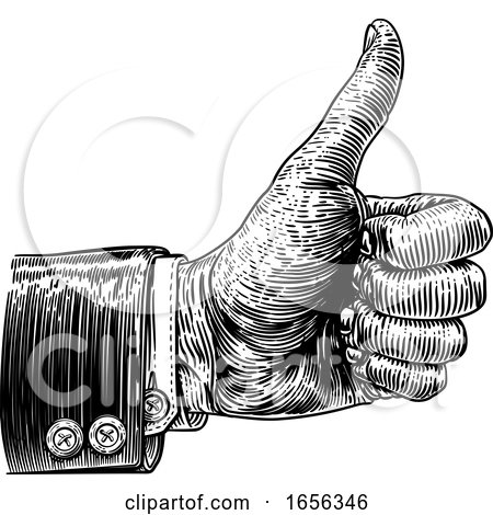 Thumbs up Hand Sign Retro Vintage Woodcut by AtStockIllustration
