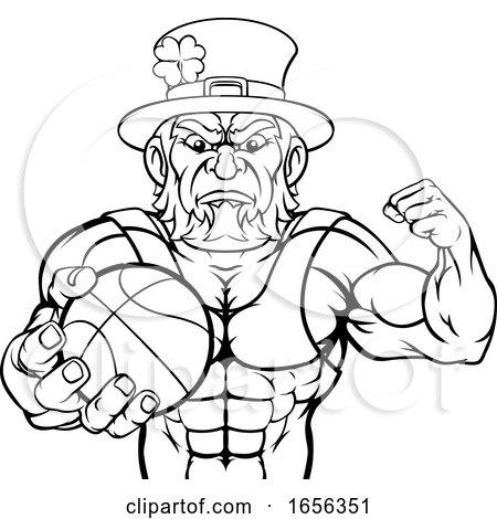 Leprechaun Holding Basketball Ball Sports Mascot by AtStockIllustration