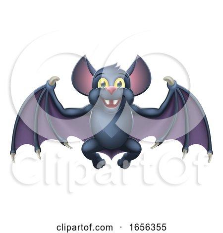 Cute Halloween Vampire Bat Animal Cartoon by AtStockIllustration