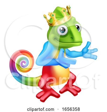 Chameleon King Crown Cartoon Lizard Character by AtStockIllustration