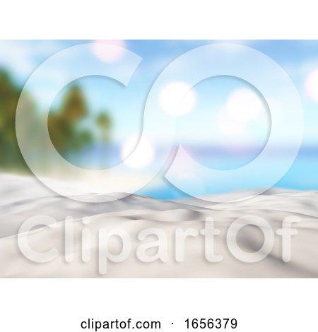 3D Close up of Sand Against a Defocussed Palm Tree Island Landscape by KJ Pargeter