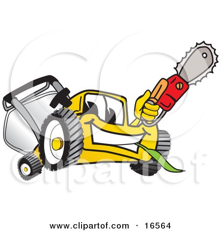 Yellow Lawn Mower Mascot Cartoon Character Holding up a Saw Posters, Art Prints