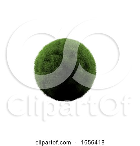 3D Grass Globe, on a White Background by KJ Pargeter