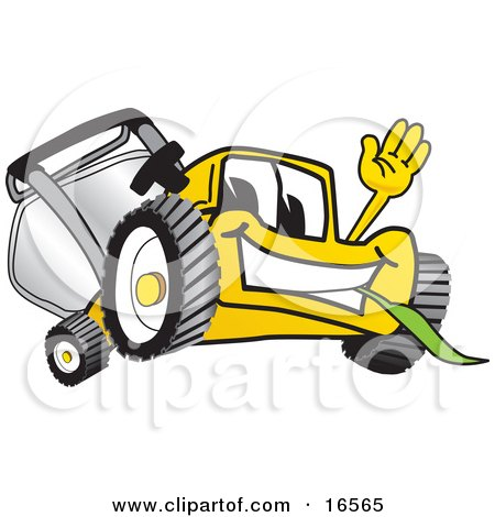 Clipart Picture of a Yellow Lawn Mower Mascot Cartoon Character Waving and Eating Grass by Toons4Biz
