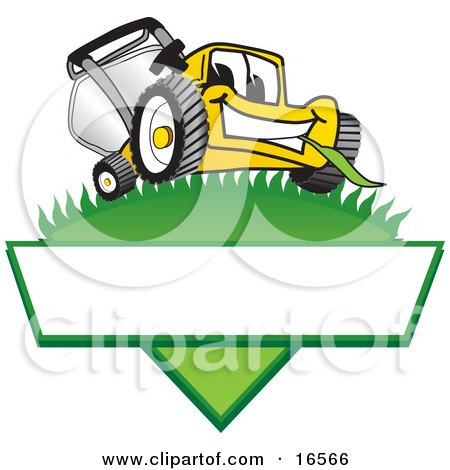 Clipart Picture of a Yellow Lawn Mower Mascot Cartoon Character on a Triangle Logo With a White Label by Toons4Biz