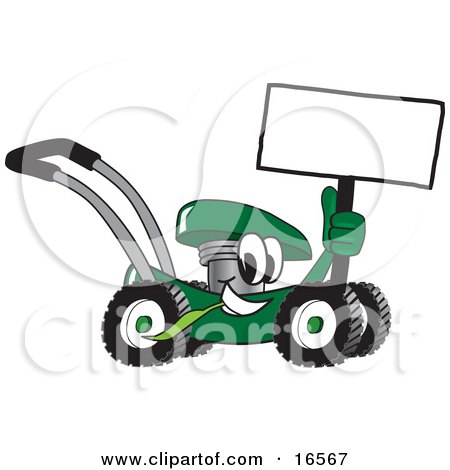 Clipart Picture of a Green Lawn Mower Mascot Cartoon Character Holding a Blank Sign by Toons4Biz