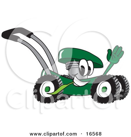 Green Lawn Mower Mascot Cartoon Character Passing by and Waving Posters, Art Prints