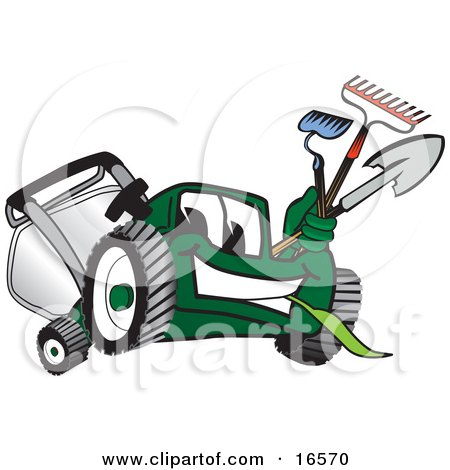 Green Lawn Mower Mascot Cartoon Character Carrying Garden Tools Posters, Art Prints