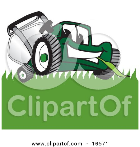 Clipart Picture of a Green Lawn Mower Mascot Cartoon Character Facing Front and Eating Grass by Toons4Biz