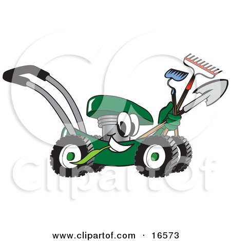 Clipart Picture of a Green Lawn Mower Mascot Cartoon Character Passing by While Carrying Garden Tools by Toons4Biz