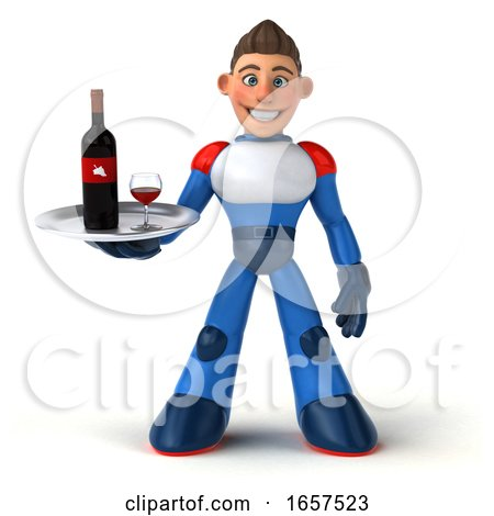 3d White Male Manga Super Hero, on a White Background by Julos